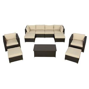 Think Patio Innesbrook Conversation Set with Cushions - Tan - 11-piece