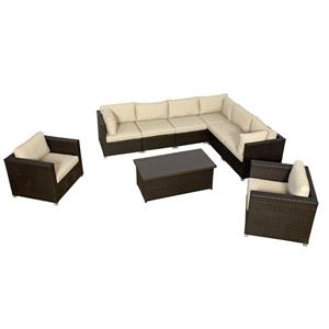 Think Patio Innesbrook Conversation Set with Cushions - Tan - 9-piece