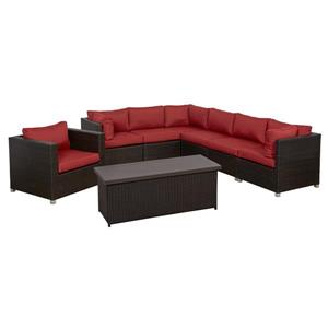 Think Patio Innesbrook Conversation Set with Cushions - Red - 8-piece