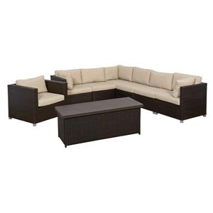 Think Patio Innesbrook Conversation Set with Cushions - Tan - 8-piece