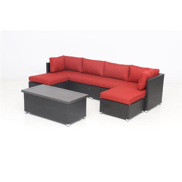 Think Patio Innesbrook Conversation Set with Cushions - Red - 7-piece