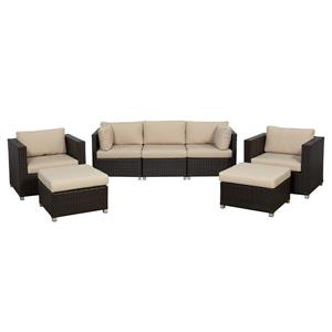 Think Patio Innesbrook Conversation Set with Cushions - Tan - 7-piece