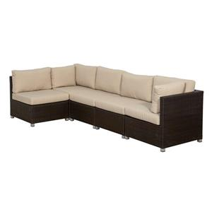 Think Patio Innesbrook Conversation Set with Cushions - Tan - 5-piece