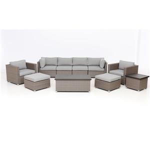 Think Patio Chambers Bay Conversation Set with Cushions - Grey -10-piece