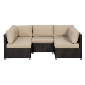 Think Patio Innesbrook Conversation Set with Cushions - Tan - 5-piece