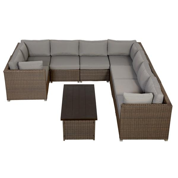 Think Patio Chambers Bay Conversation Set with Cushions - Grey - 9-piece
