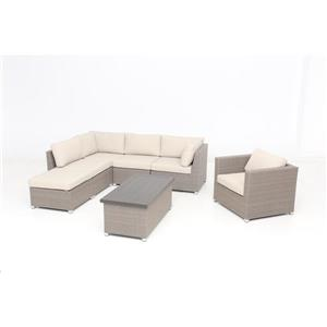 Think Patio Chambers Bay Conversation Set with Cushions - Tan - 7-piece