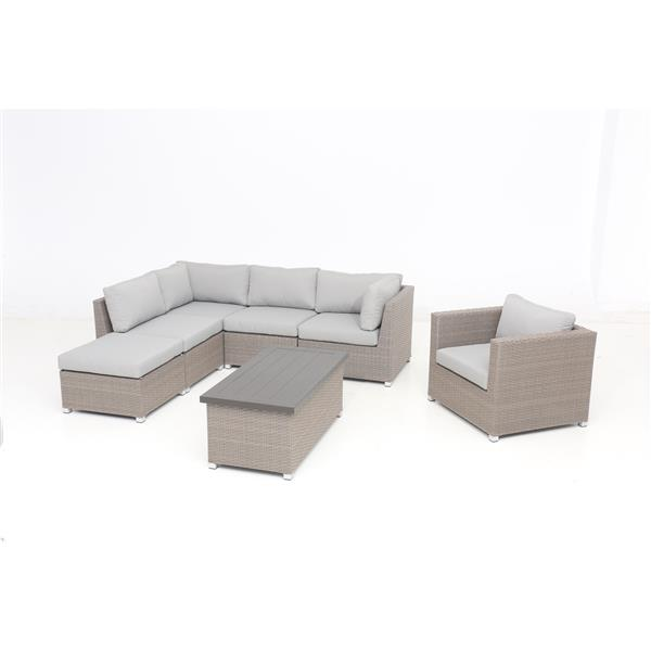Think Patio Chambers Bay Conversation Set with Cushions - Grey - 7-piece