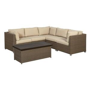 Think Patio Chambers Bay Conversation Set with Cushions - Tan - 6-piece