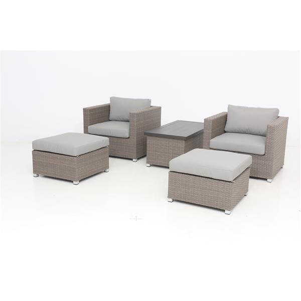 Think Patio Chambers Bay Conversation Set with Cushions - Grey - 5-piece