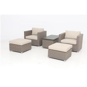 Think Patio Chambers Bay Conversation Set with Cushions - Tan - 5-piece
