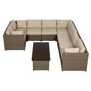 Think Patio Chambers Bay Conversation Set with Cushions - Tan - 9-piece
