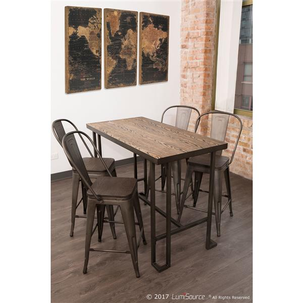 """Lumisource Roman Industrial Counter Table - Antique/Brown - 48"""""""