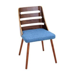 Lumisource Trevi Dining/Accent Chair in Walnut & Blue Fabric