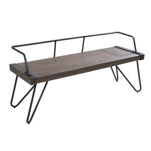 "Lumisource Stefani Industrial Bench - Antique and Walnut - 51.25"""