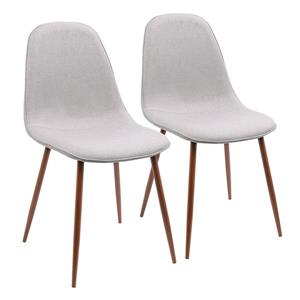 LumiSource Pebble Dining Chair - Walnut & Grey - Set of 2