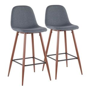LumiSource Pebble Barstool - Walnut & Blue - Set of 2