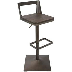 LumiSource Samurai Adjustable Barstool in Antique & Espresso