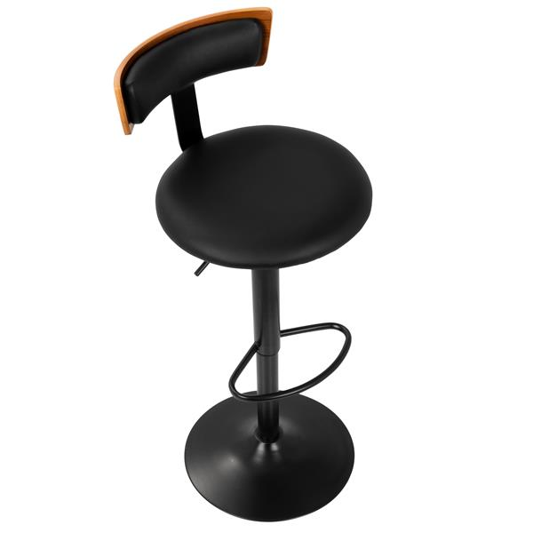 Lumisource Weller Barstool adjustable - Walnut & Black Faux Leather