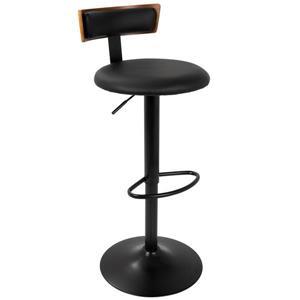 Lumisource Weller Barstool adjustable - Walnut & Black Faux Leather