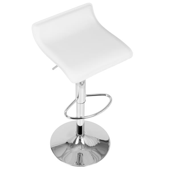 Lumisource Ale Barstool in White Faux Leather (Set of 2)