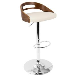 Lumisource Cassis Barstool Walnut & Cream Faux Leather