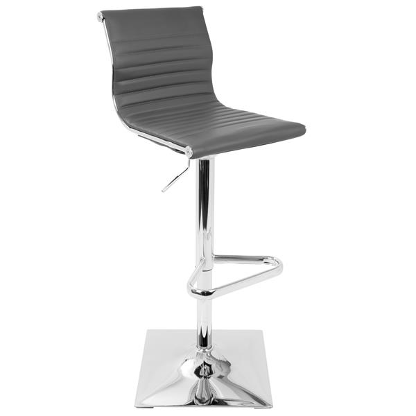Lumisource Masters Adjustable Barstool in Grey Faux Leather