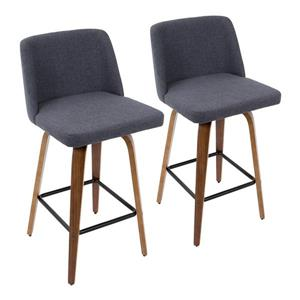 Lumisource Toriano Counter Stool in Walnut & Blue Fabric (Set of 2)
