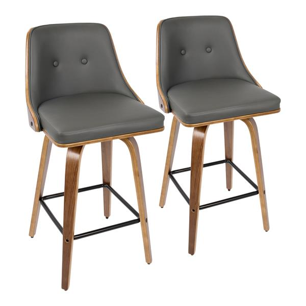 Lumisource Gianna  Counter Stool - Walnut/Grey Faux Leather - Set of 2
