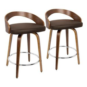 Lumisource Grotto Counter Stool - Walnut/Brown Faux Leather - Set of 2