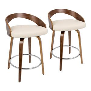 Lumisource Grotto Counter Stool - Walnut/Cream Faux Leather - Set of 2
