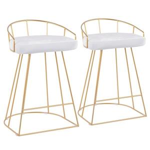 Lumisource Canary Gold Counter Stool - White Velvet Seat - Set of 2