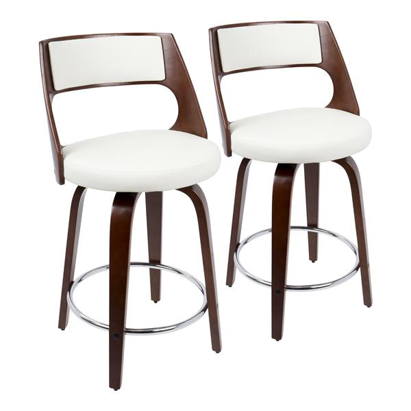 Lumisource Cecina Counter Stool - Cherry & White Faux Leather -Set of 2