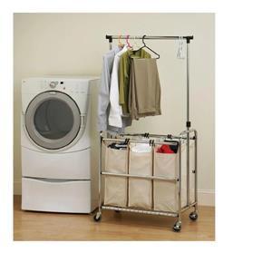 Seville Classics Laundry sorter cart - hanger bar-  3- bag
