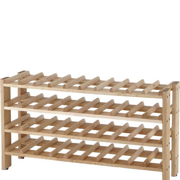 Seville Classics Solid Birch Wood Wine Rack - 40-Bottle