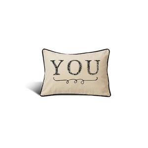 "Coussin décoratif «Typo You», 14"" x 20"", multicolore"