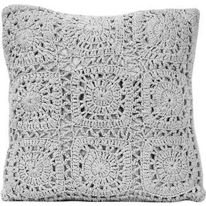 """Coussin décoratif «Crochet» en polyester, 18"""" x 18"""", gris"""