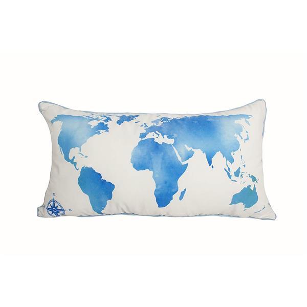 """Coussin décoratif carte de monde, 14"""" x 26"""", multicolore"""