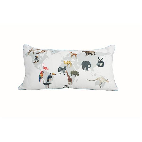 Urban Loft by Westex Map Animals Decorative Cushion -14-in x 26-in - Multicoloured