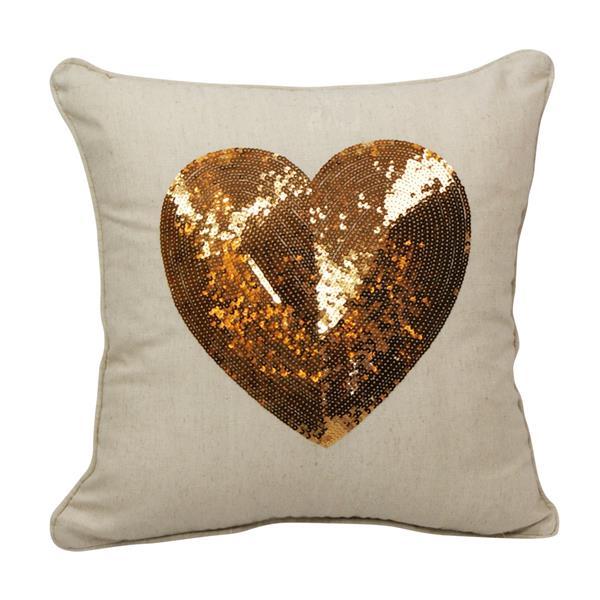 Urban Loft by Westex Sequin Heart Decorative Cushion - 18-in x 18-in - Gold