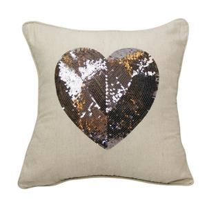 Urban Loft by Westex Sequin Heart Cushion - 18-in x 18-in - Multicoloured