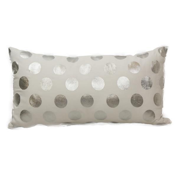 Urban Loft by Westex Foil Dots Large Decorative Cushion - 14-in x 26-in - Silver