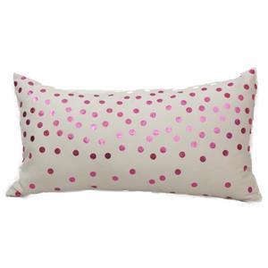"""Petit coussin décoratif «Foil Dots», 14"""" x 26"""", rose"""