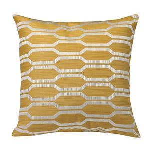 """Coussin décoratif «Hexagon», 20"""" x 20"""", jaune"""