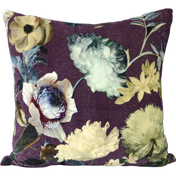 Urban Loft by Westex Velvet Floral Decorative Cushion - 20-in x 20-in - Wine