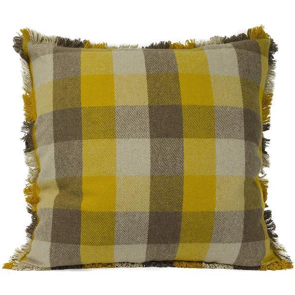 Urban Loft by Westex Buffalo Check Decorative Cushion - 24-in x 24-in - Gold/Tan