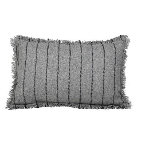 Urban Loft by Westex Fringe Striped Decorative Cushion - 14-in x 26-in - Grey