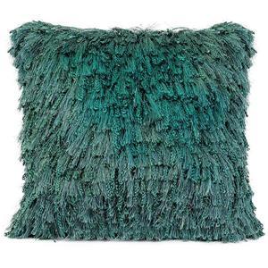 """Coussin décoratif à poil long «Shiny», 20"""" x 20"""", bleu"""