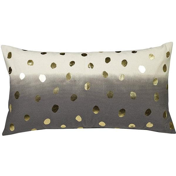 Urban Loft by Westex Foil Dots Decorative Cushion - 14-in x 26-in - Black/Gold