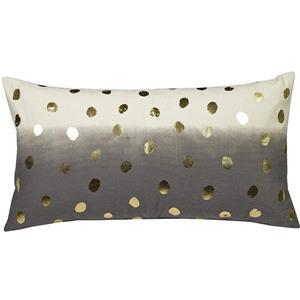 """Coussin décoratif «Foil Dots», 14"""" x 26"""", noir/or"""